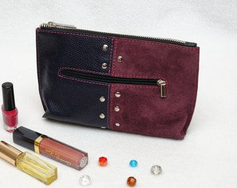 Gift/for/her Leather Makeup Bag Suede Cosmetic Bag Leather Suede bag Burgundy Makeup case Leather Purse Zipper Pouch Leather Cosmetic Case