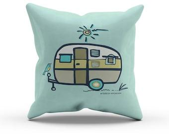 "Aqua Green Camper Pillow, Decorative Throw Pillow, Indoor Outdoor Cushion, RV Retro Vintage Airstream, Camping Decor, Glamping, 18"" 45cm"