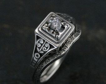 EdwardianBridal Set--Sterling Silver Filigree Ring--Square Ring--Art Deco Ring--Antique Style Engagement Ring--Vintage Style Engagement Ring