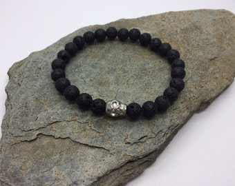 Mens Lava Rock Skull Bracelet