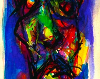 portrait print modern abstract watercolor painting print art artwork