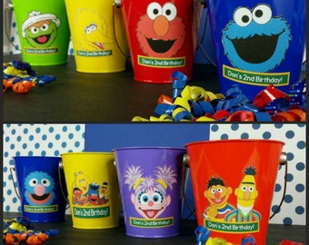 10 Personalized Sesame St. Inspired Favor Pails