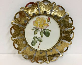 Vintage Metal Framed Floral Art/ Vintage Art/ Vintage Yellow Rose Art/Vintage Decor