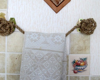 Rope Towel Holder, Towel Rack Hooks, Towel Rail, Rustic Home Decor