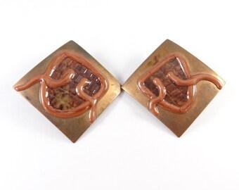 Copper Earrings, Large Tribal Copper Earrings, Large Square Tribal Copper Earrings