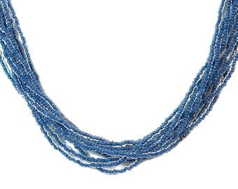 Murano Glass Seed Bead Necklace 'Shimmer' from Mystery of Venice  in Denim Blue