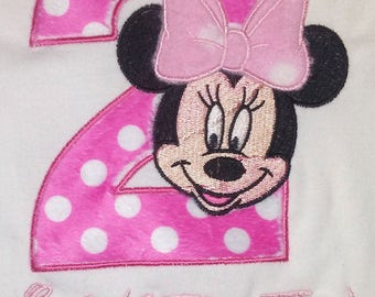 Pink Minnie Mouse 2nd Birthday Shirt Personalized Shirt Pink Minnie Mouse 2nd Birthday Onesie Pink Minnie Mouse Shirt Pink Minnie Mouse