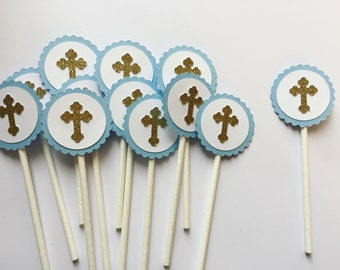 Baptism Cupcake Toppers -- First Communion Cupcake Toppers -- Cross Cupcake Toppers -- Set of 12
