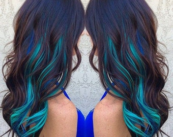 Blue hair piece etsy metallic blue hair extensions pmusecretfo Image collections