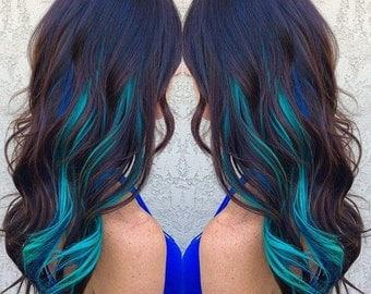 Metallic Blue Hair Extensions