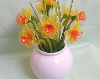 daffodils,daffodil,yellow daffodils bouquet,unique gift idea,daffodils vase,handmade daffodil,handmade flowers,Easter,Mother's day,spring