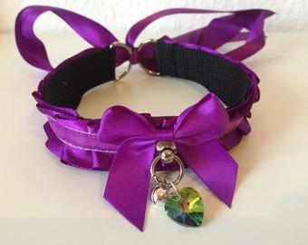 Purple Thin Satin Kitten Play BDSM Collar