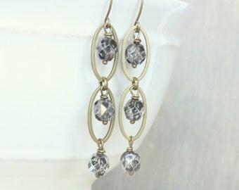 Gray Earrings, Dangle Earrings, Bronze Earrings, Faceted Glass Earrings, Oval Earrings, Drop Earrings,  Boho Earrings, Gift for Her, Rustic