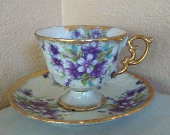 Royal Sealy Japan Gold Lusterware Iridescent Purple Violets Footed Cup & Saucer