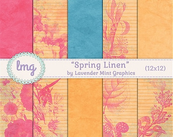 """Spring Digital Papers - """"Spring Linen"""" - Vintage, Shabby Chic, Scrapbooking, Invitations, Cards, Junk Journal Paper, Instant Download, CU"""