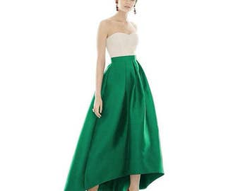 Lush skirt maxi \ Emerald skirt asymmetrical hem \ Emerald skirt maxi \ Skirt high waist \ Emerald skirt for graduation