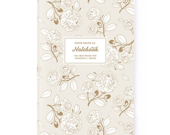 Notebook - Royal Rose Gold Floral Notebook - Journal - Daily Jotter - Pink Floral Notebook