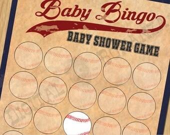 Baby Shower Games Baby Shower Bingo Game Vintage Baseball - Instant Download / Digital file - Print It Yourself – DIY - Download BS002N