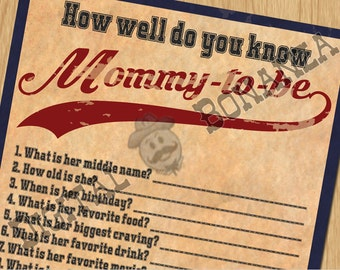 Baby Shower Games How Well Do You Know Mommy-to-be Vintage Baseball - Instant Download / Digital file - Print It Yourself – Download BS002N