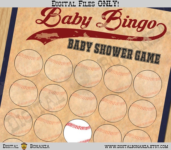 Baby shower games baby shower bingo game vintage baseball il570xn solutioingenieria Choice Image