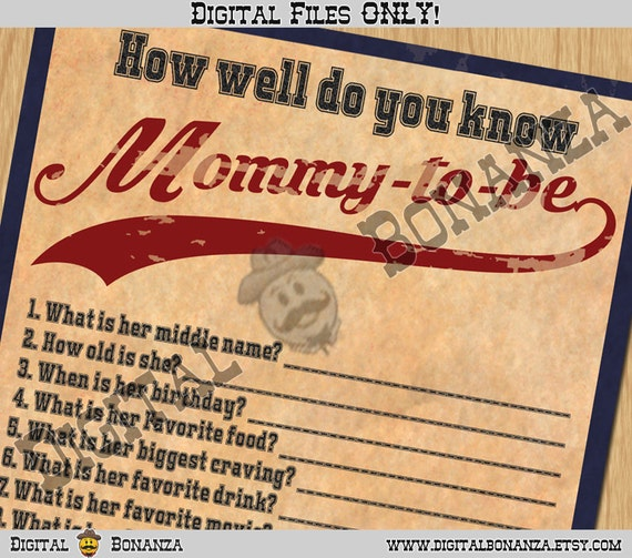 Baby Shower Games How Well Do You Know Mommy-to-be Vintage