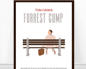 Forrest Gump Poster, Minimalist Movie Poster, Alternative Movie Poster, Minimalist Art Print