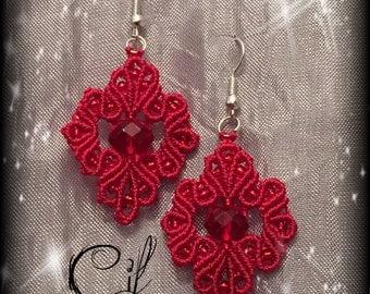 red earrings macrame