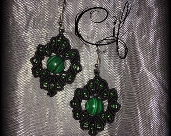Black earrings with malachite