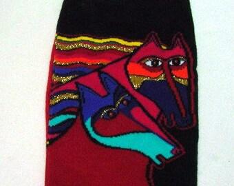 """Laurel Burch Art Socks - Designer""""Wind Spirit"""" - Two Horses -  Women - Equestrians - Teachers - Gift - Awesome Artsy Socks"""