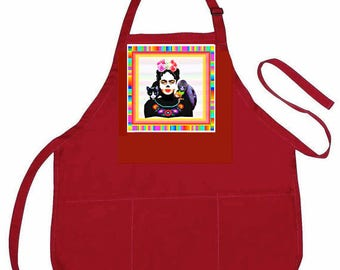 "Red Artist Apron-Frida Kahlo  ""Self-Portrait with Thorn Necklace""Parody Design -3 Pocket Art Apron-Original Design-Frida Kahlo clothing"
