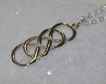 Infinity Love Knot Pendant Sterling Silver Necklace with Open Cable Link Chain
