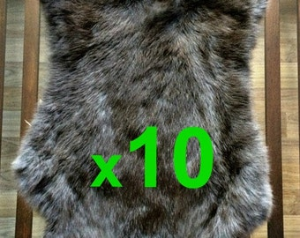 10 x BROWN Rabbit Skin Fur Pelt Tanned for; dummy, animal training, crafts, fashion, clothing, accessories