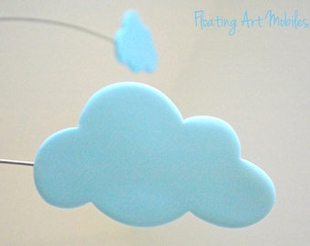 Cloud Mobile Modern Cloud Mobile  Whimsy Pastel Blue Mobile Kinetic Baby Mobile