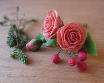 Orange rose pin, bridal hair flower, wedding hair flowers, bridal hair pin, hair clay flower, berries, red clay berries, christmas hair pin