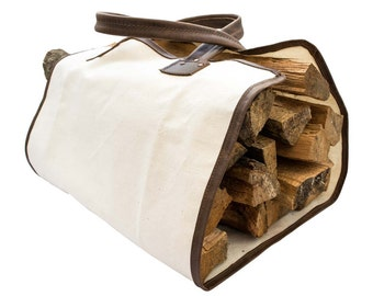 Durable Canvas Firewood Bag With Leather Liner Handmade by Hide & Drink