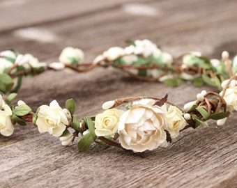 Bridal Ivory Head Wreath Wedding Flower Crown