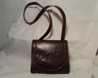 Vintage 1970's Handmade Dark Brown Leather Handbag - Shoulder Bag- NEW
