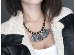 Tribal fringe necklace, black white necklace, brass tassel necklace, black fringe necklace, gray gold necklace.