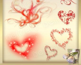 7 Valentine's Overlays Vol.8, Valentine heart clip art, Valentine Clip Art, Heart Digital Overlays, Love Clipart, Hearts,  Instant Download