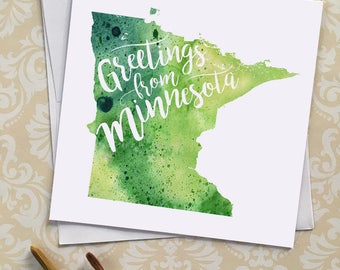Minnesota Watercolor Map Greeting Card, Greetings from Minnesota Hand Lettered Text, Gift, Postcard, Giclée Print, Map Art, Choose 5 Colors
