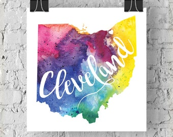 Custom Ohio Map Art, Ohio Watercolor Heart Map Home Decor, Cleveland or Your City Hand Lettering, Personalized Gift, Giclee Print, 5 Colors