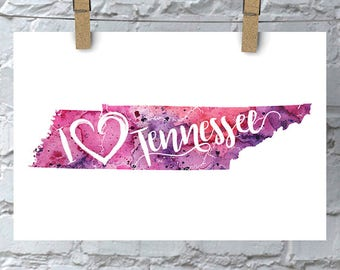 I Heart Tennessee Map Art Print, I Love Tennessee Watercolor Home Decor Map Painting, TN Giclee US State Art, Housewarming Gift, Moving Gift