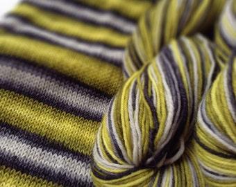 Hand dyed self striping merino sock yarn - Wasp