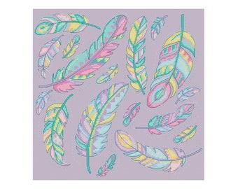 Feathers - Durene J Cross Stitch Pattern - DJXS2220