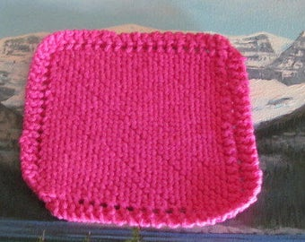 Hand knit cotton dish cloth 6 by 6 KDC 006