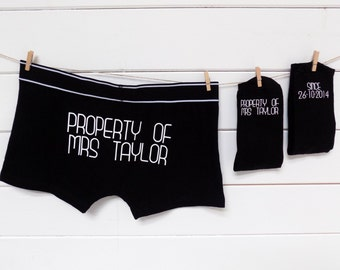 Personalised Groom Gift Set, Socks & Underwear, Property of Personalized Wedding Present, Gift for the Groom from the Bride, Valentine's Day