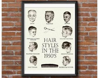 Hair Styles in the 1950's Poster – Crew Cut Flattop Butch Forward Booggie Etc