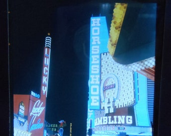 Vtg Color Transparent Photo Las Vegas Horseshoe Lucky Casino 1960's At Night