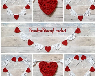 Heart Bunting, Crochet Heart Bunting, Heart Garland