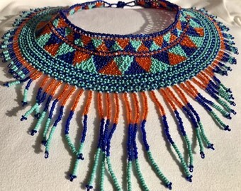 "Handmade blue & orange beaded Necklace 15-17"""